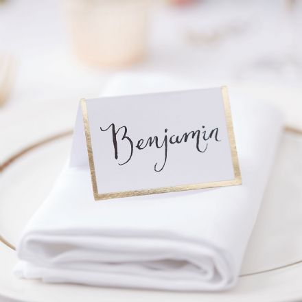 White & Gold Place Cards